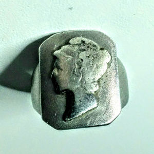 Antique Ring Cameo Size 6 1/2 S Steel Hand made